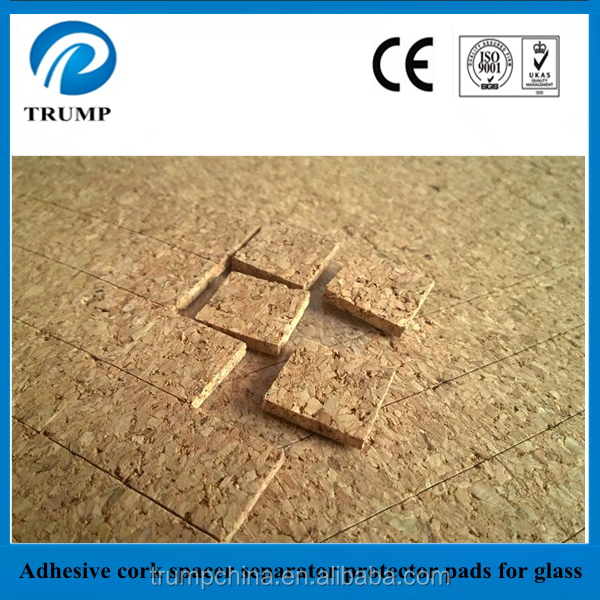 Cork distance pads for protecting glass