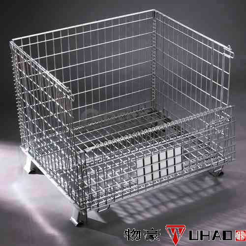 industry metal stackable wire baskets / rolling plastic container with handle for sale