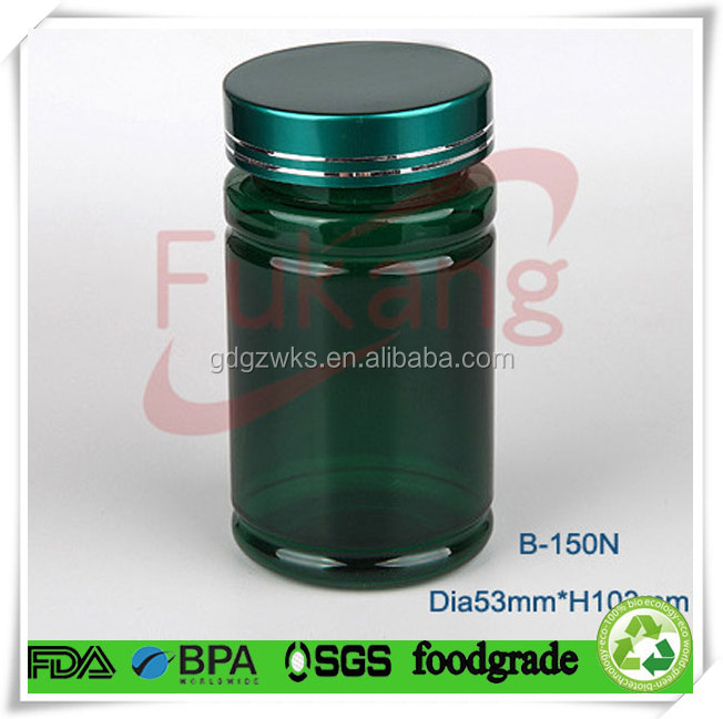 150cc green plastic PET sport health food bottle wholesales,medicine plastic jar,pill plastic bottle customized China factory