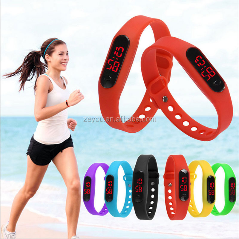 R0805 2017 digital silicon material LED sport wristband watch