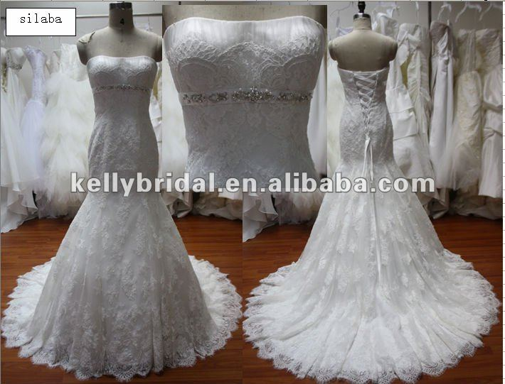 Dress Wedding France Lace Bridal Gown, Famous Quality Lace Bride Dress