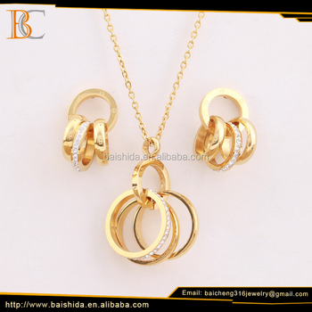 new design triple rings necklace and earrings jewelry set stainless steel for party