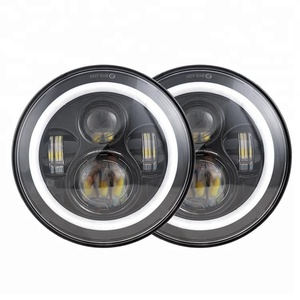Hot ! Replacement Kit 7'' LED Car Headlight Motorcycle Headlight H4 High Low Beam LED Headlight Angel Eyes for 97-14 Jeep