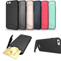 2 in 1 brush hybrid armor card holder stand phone case cover for iphone 7