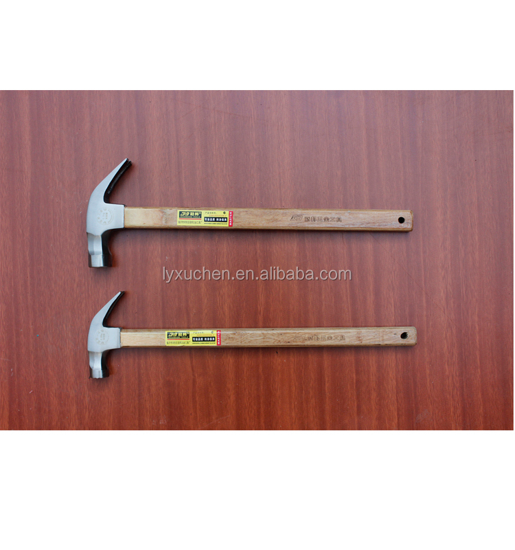 professional factory supply common polished hammer head claw hammer with long square wooden handle