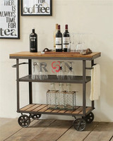 American Iron Wooden Tea Trolley Moving Wine Cabinet Small Dining Food Cart
