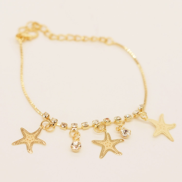 Cheap Bracelet Crystal Chain Stars Charm Bracelet Link Gold Chain <strong>Jewelry</strong> For Women