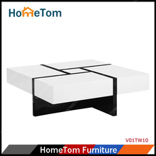 White and Black MDF High Gloss Modern Wooden Coffee Table