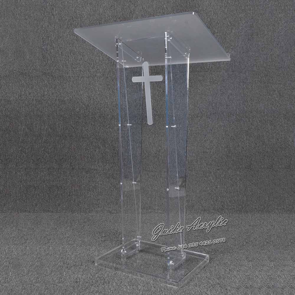 YZ-027 Logo customized morden concise style clear acrylic podium lectern