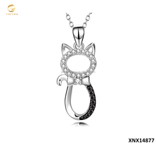 New Arrival 925 Sterling Silver White And Black CZ Kitty Pet Cat Jewelry Necklace