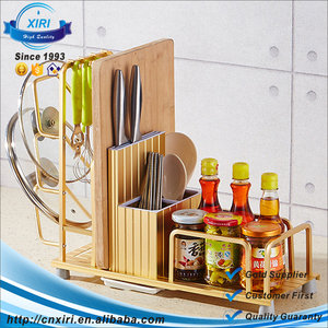 Kitchen Multi-functional Shelf Knives Rack Spice Rack Pot Cover Holder With Hooks
