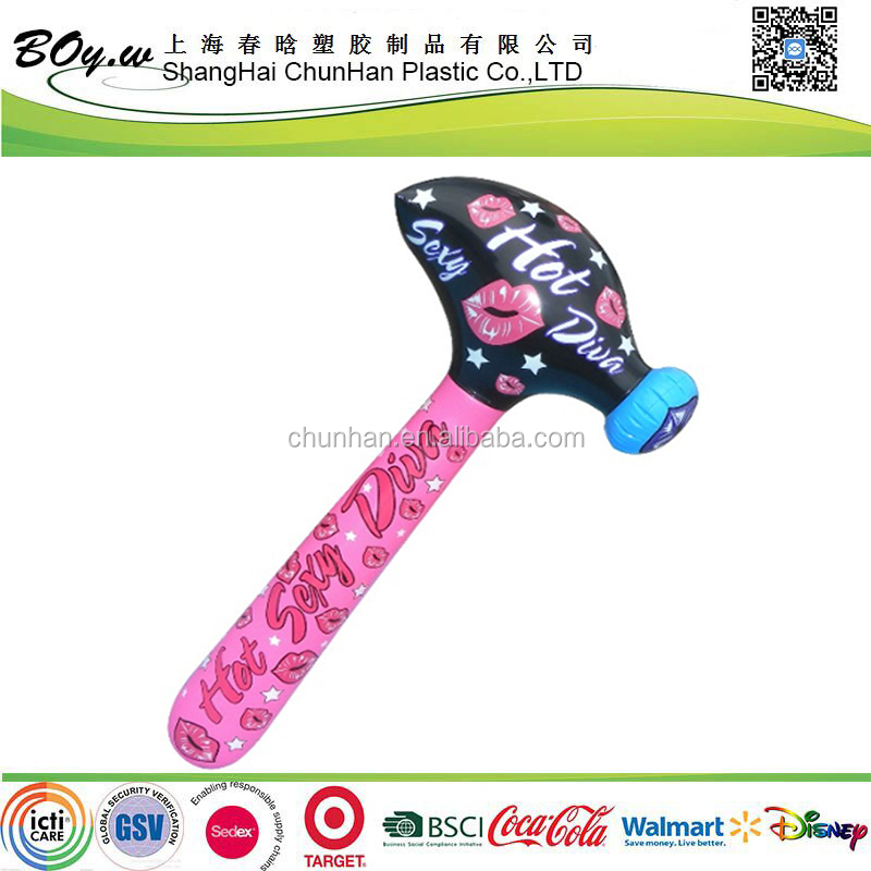 Walmart supplier hot sale customized full cover printing pink children toys pvc inflatable hammers