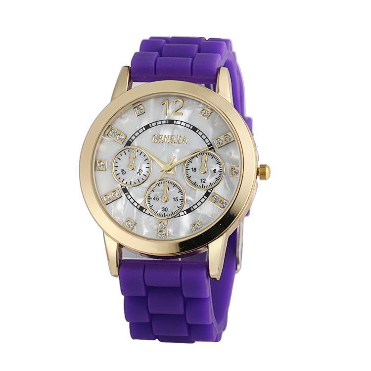 chinese factory wholesale geneva quartz silicone watches gold case watch