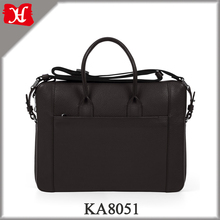 Soft Premium Leather Briefcase Men's 15-inch Black Granulated Leather Portfolio Bag