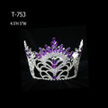 Cheap Purple Rhinestone Full Round Queen Crown