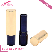 Hot selling elegant dark blue cylinder lipstick tube with golden shinning cap