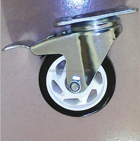 Double ball bearing black PU caster wheel, top plate with total brake and lock