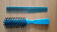 OEM ningbo factory cheap plastic hair brush and comb set, hair combs and brushes