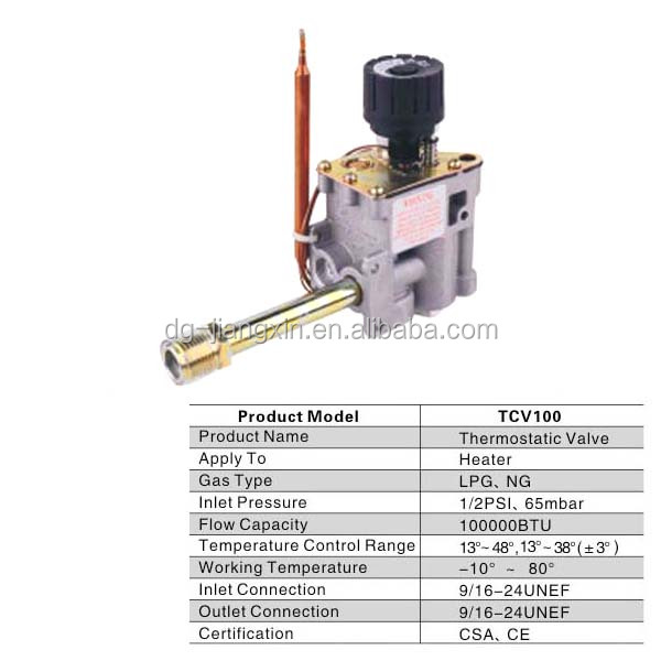 CSA/CE Certificated Gas Thermostatic Valve