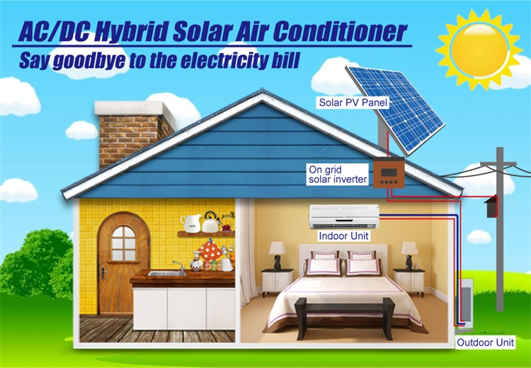 AC DC dual power brushless motor hybrid 12000btu on grid solar air conditioner price