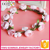 Peony pink flower wedding princess crown for girls
