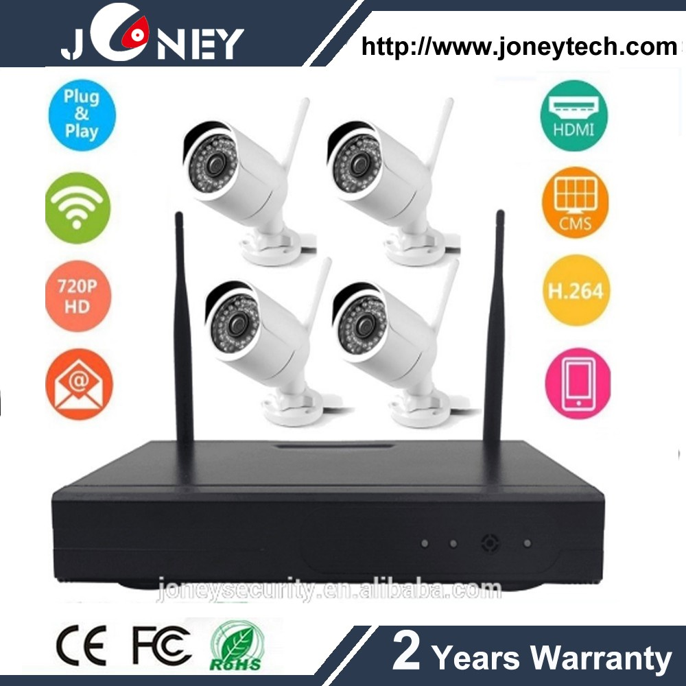 IP66 Waterproof Bullet Camera 4channel Wireless 2MP NVR kit