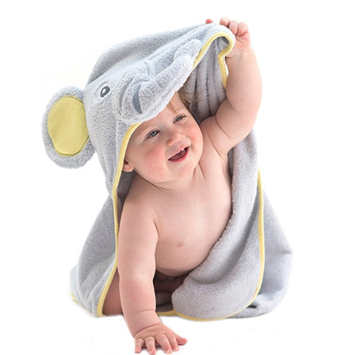 Little Tinkers World Elephant Hooded Baby Towel, organic bamboo, Large 30x30-Inch size