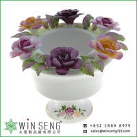 flower basket shaped ceramic home decoration