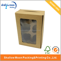 Food grade kraft paper cake box packaging with PVC window