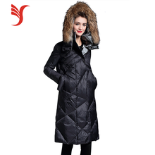 New design black slim long down coat thickening winter warm Raccoon fur autumn hooded down jacket