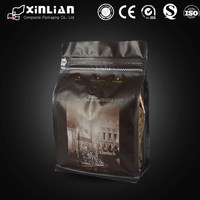 Matte black coffee bag /box bottom coffee bag/Quad seal square bottom coffee bag