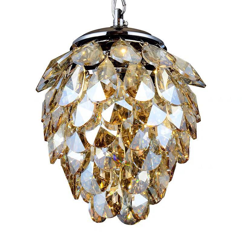Crystal Hanging Pendant Light with Cognac Glass Shade Bubble Lighting Fixture Amber Finish