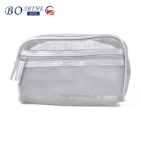 DONGGUAN BOSHINE Wholesale cheap silver ladies makeup pvc clear mesh cosmetic bag for travelling