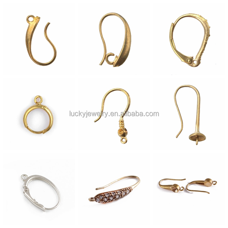 top quality unique jewelry findings wholesale many colors for choice raw brass metal casting earring wires fish hooks