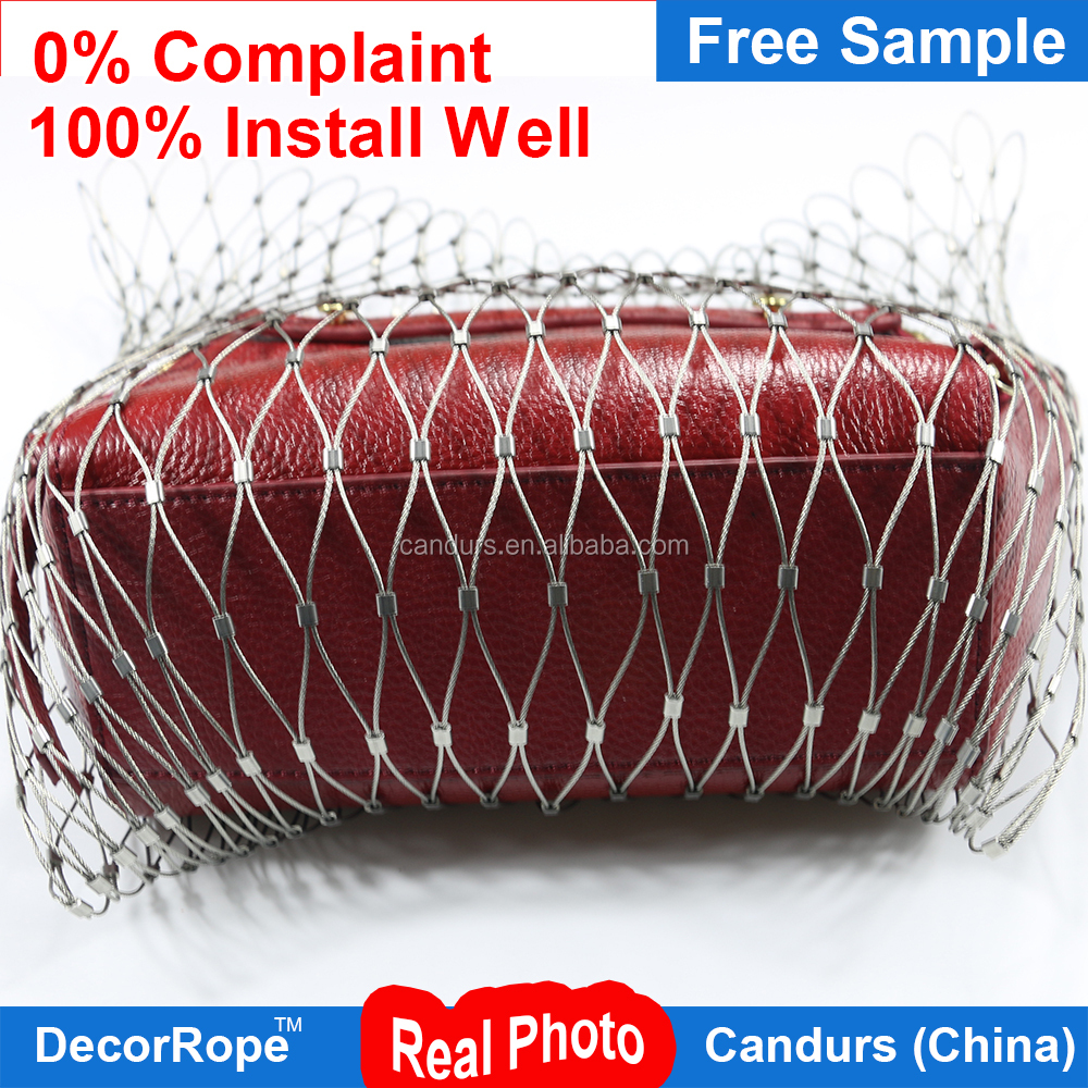 Customized DecorRope Wire Rope Mesh For Backpack and Bag protector