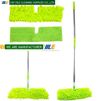 DOUBLE-SIDED MICROFIBER DUST MOP FLAT MOP WITH TELESCOPIC ALUMINUM HANDLE