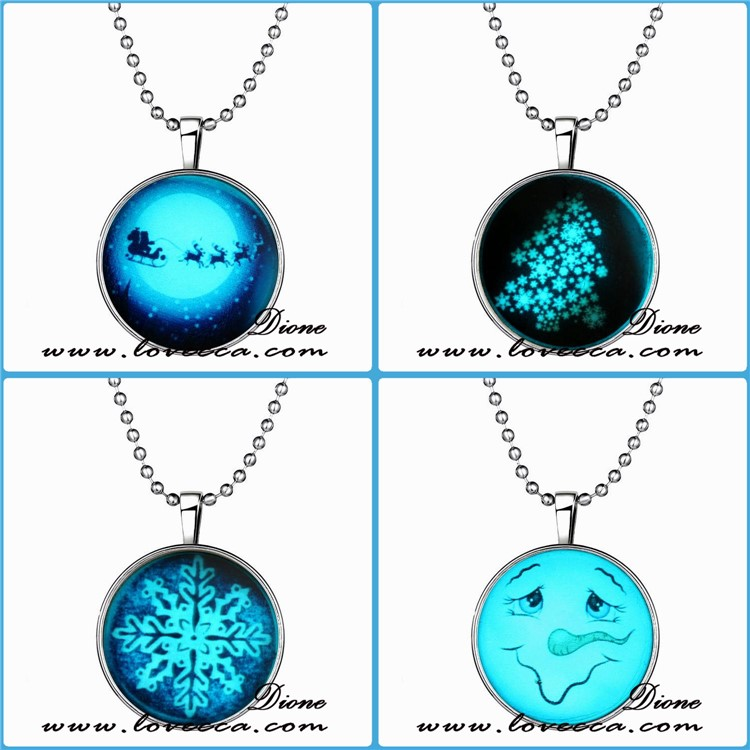 Santa Elk Necklace Luminous Xmas jewelry Christmas Necklace Christmas Gifts