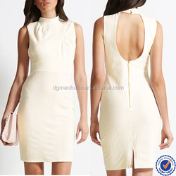 High neck simple girls and ladies cut outting back shift dress