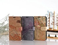 World Map Leather Case for Samsung Galaxy Note2 N7100, Wallet Leather Case For Galaxy With Inside Card Slots