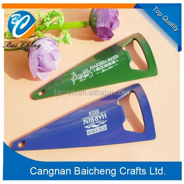 creative can openers of triangle shaped of plastic ABS material and metal zinc alloy material in plated logo printing