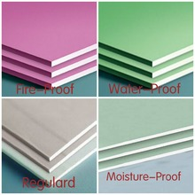 Pink and green fire and water proof paper faced gypsum board drywall