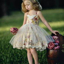 New Summer Children's Floral Lace Skirt Lace Girls Dress