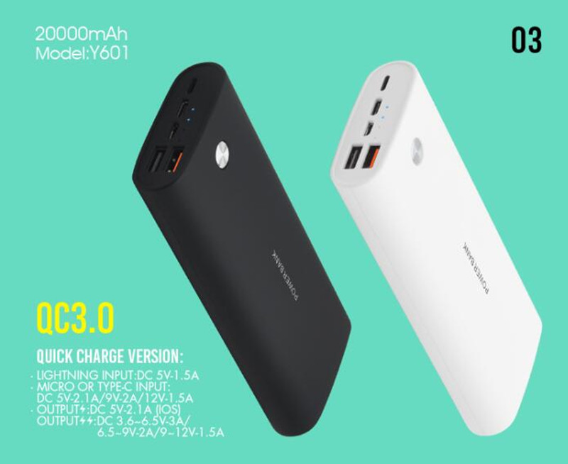 OEM China Supplier Fast Charging Latest Model Power Bank 20000mAh Universal Portable Fast Charger QC3.0