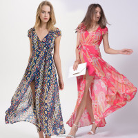 2016 New arrived Summer Georgette printed long maxi wrap dress