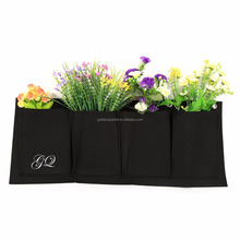 Custom 4 Pockets Vertical Felt Garden Plant Grow Container Bags Wall Hanging Planter felt plants bag