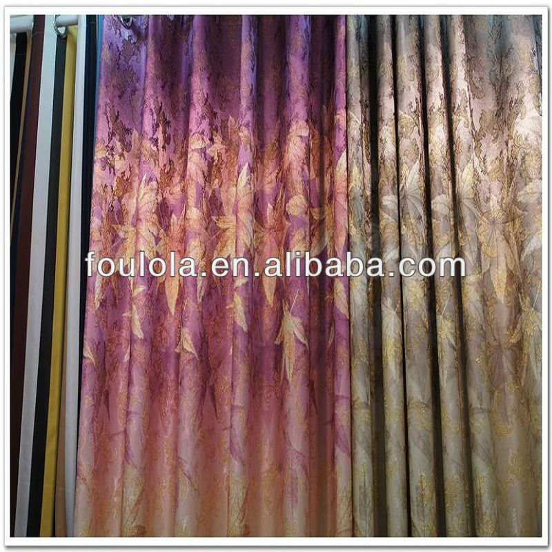 Concise Leaves Design Yarn Dye Printed Jacquard Gold Thread 100% Polyester Curtain Fabric