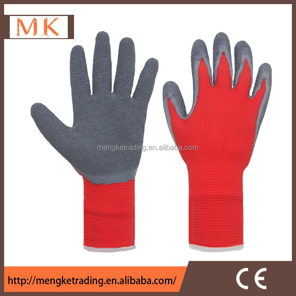 men working latex hand gloves with polyester liner