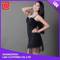 Unique design black flower lace tassel lap ladies sexy crochet dresses