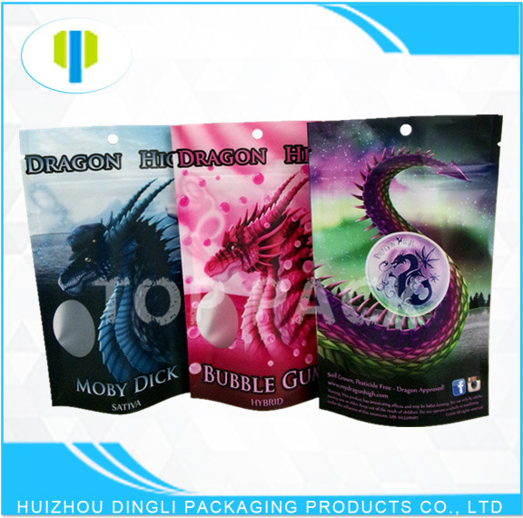 custom printing laminated foil stand up zipper tobacco pouch