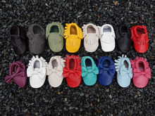 Wholesale genuine leather shoes baby moccasins with tassels
